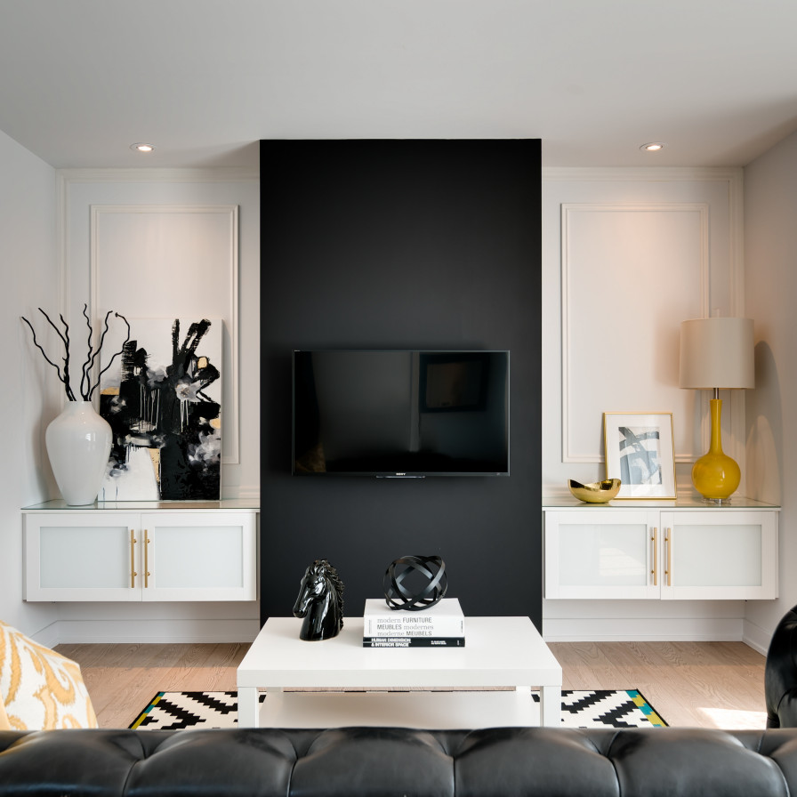 Black TV wall design with amazing decorative luxazin