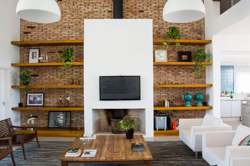 tv wall design ideas with shelf and brick wall luxazin