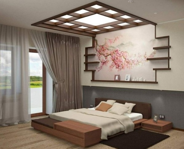 Japanese bedroom style with simple headboard and ceiling decoration