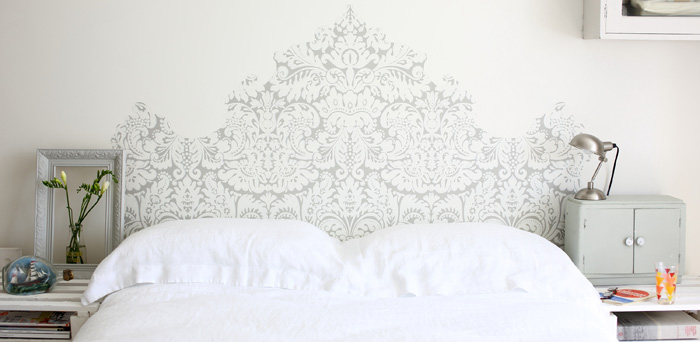 Painted headboard bed white