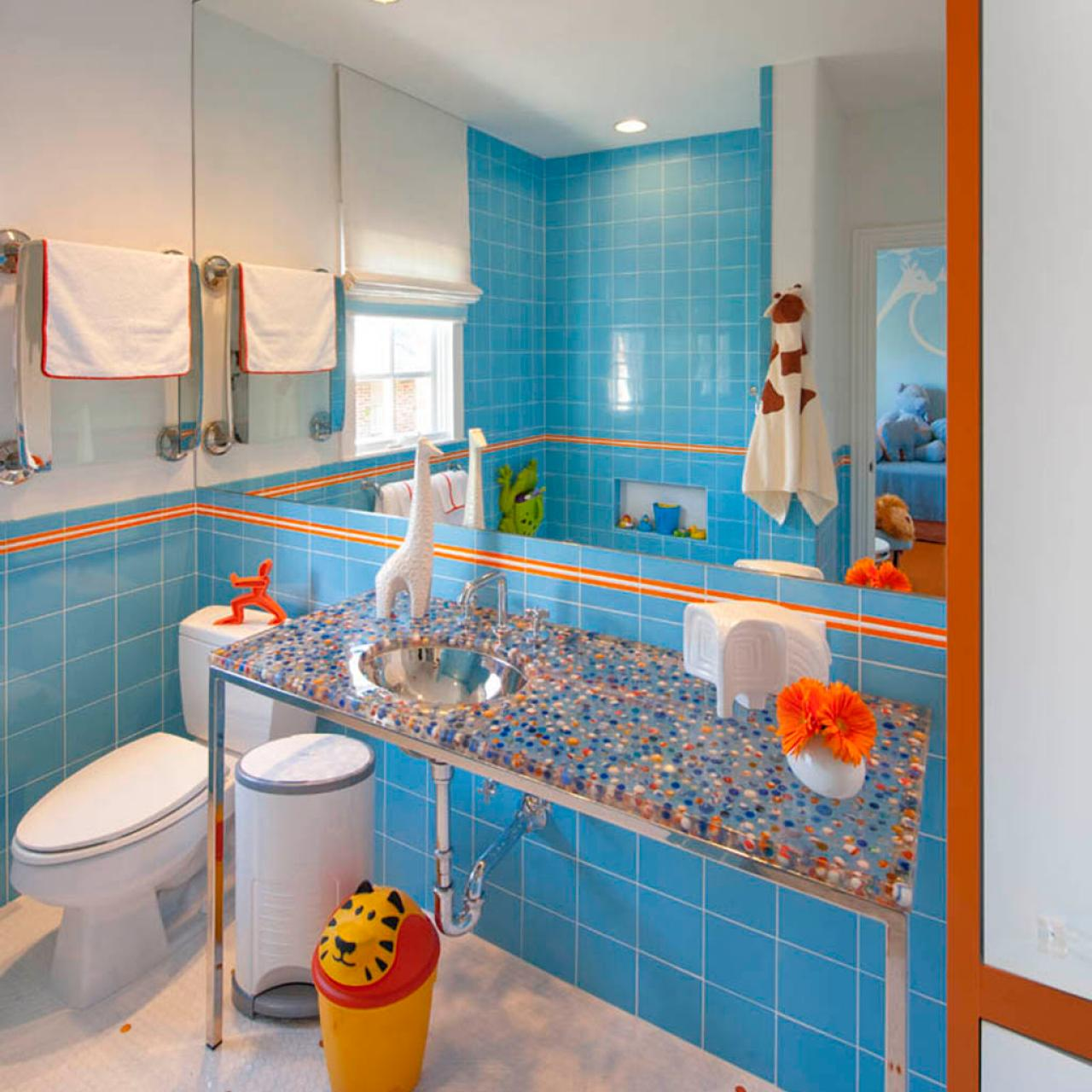 bathroom with blue tile wall and accented orange line luxazin