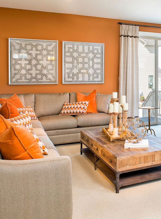 beautiful modern desing living room with orange wall