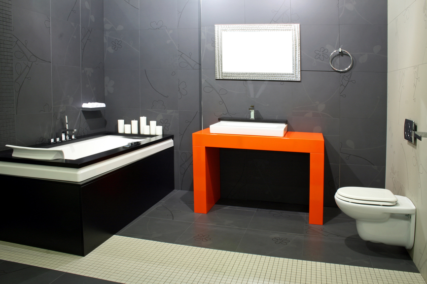 contemporary bathroom with accented arange sink and amazingly painted wall luxazin