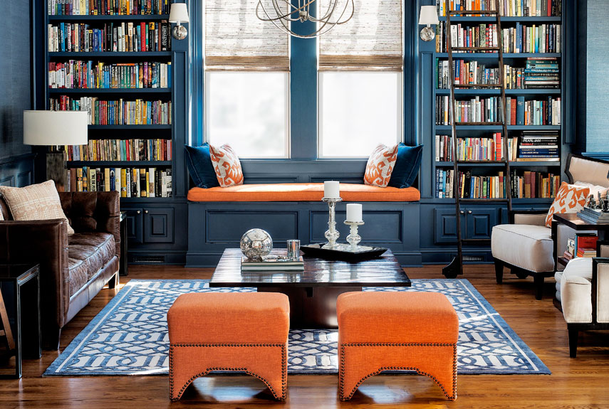 modern design living room with navy and orange color luxazin