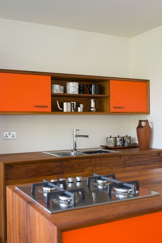 orange kitchen cabinets and wooden cabinets luxazin