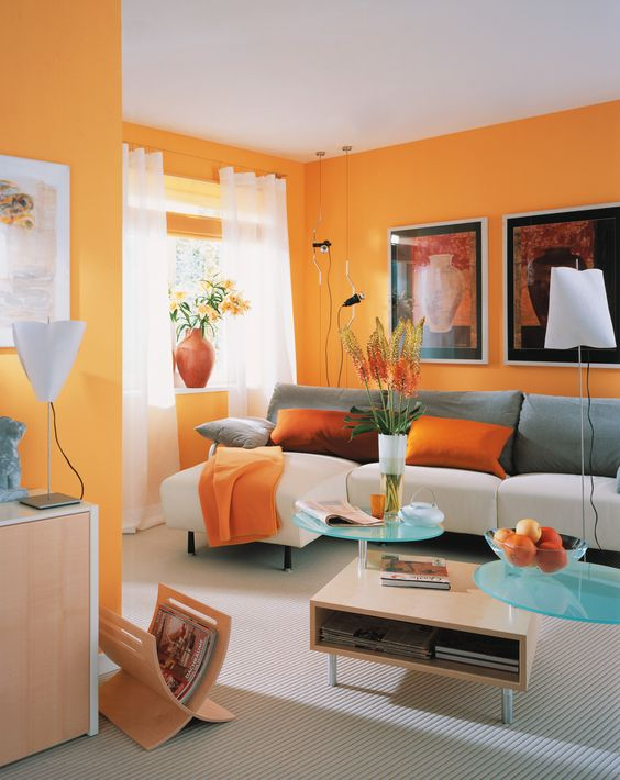 orange wall for livingroom with white furniture luxazin