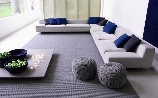 Modern puff stools inside a contemporary living room in soft colors luxazin