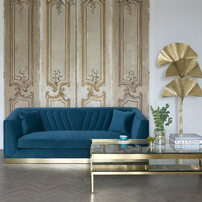 blue sofa with gold touch luxazin