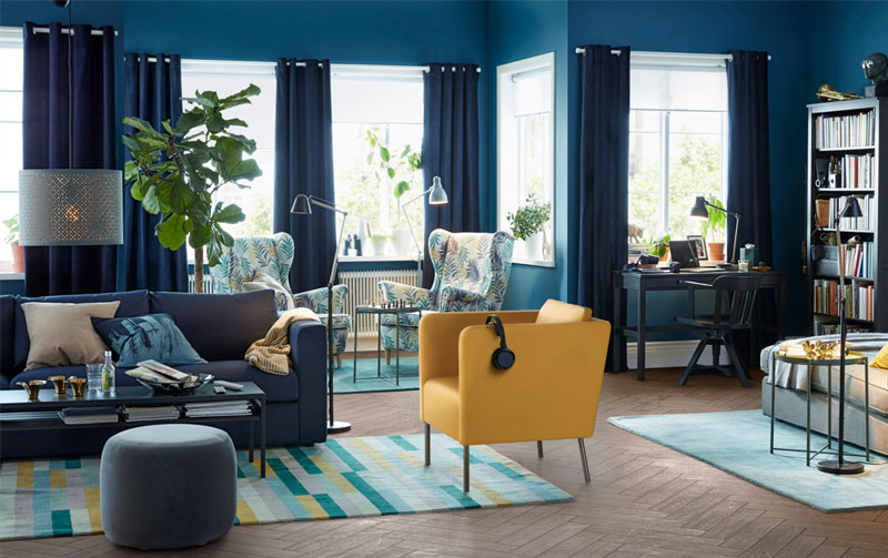 living room ideas blue and yellow decoration luxazin