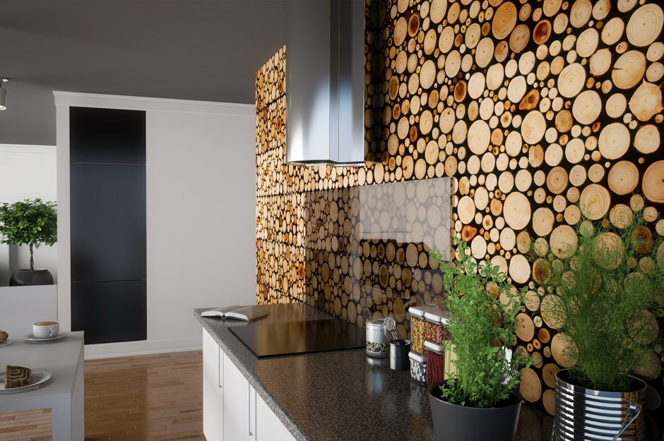 beautiful wooden texture wall in kitchen interior decoration luxazin