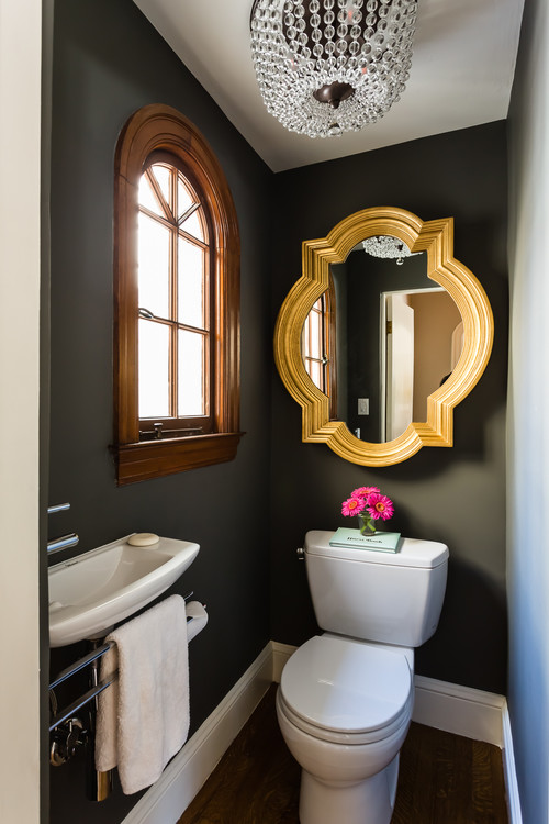 contemporary bold powder room with amazing mirror luxazin