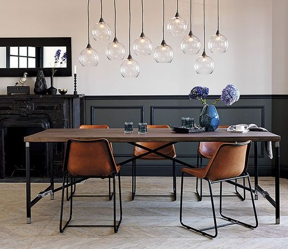 contemporary dining room with amazing pendants luxazin